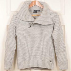 ArmaniEx M Wool Angora Zip-neck Sweater